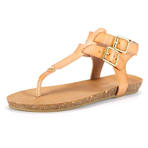 DREAM PAIRS Women's T Strap Thong Flat Sandals Size 9 M US Nude Ankle Strap T-strap Sandals