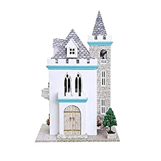 BEESCLOVER Moonlight Castle Dollhouse 3D Miniature Doll House Model Building Kits Wooden Furniture Toys Birthday Gifts Show