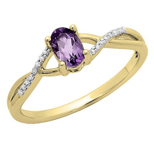 18K Yellow Gold 6X4 MM Amethyst & White Diamond Bridal Swirl Engagement...