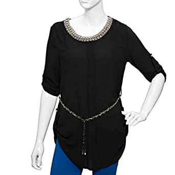 Damacseno Black Polyester Round Neck Blouse For Women