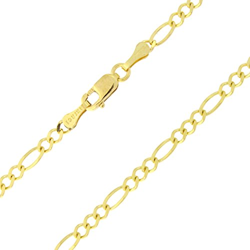 14k Solid Yellow Gold 2.6mm Figaro Chain Anklet - 10'' by Beauniq