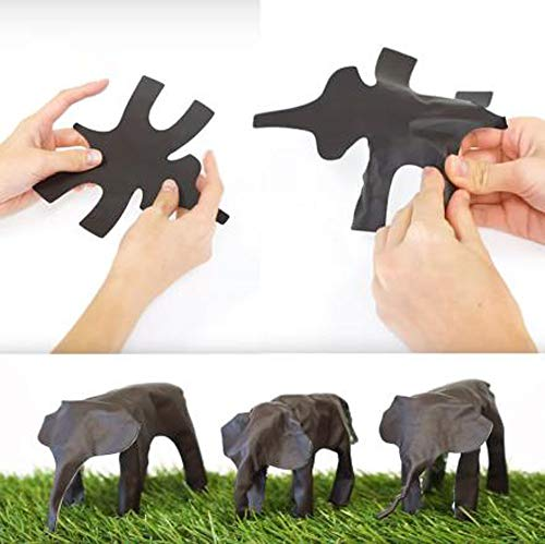 TUU 4 Pcs Pop-Up Sculpture,Pop-Up Elephant,Giraffes,Gorillas,Bears, Toy Assembled Animal Sculpture, Lets You Sculpt Your Own Zoo (Black)
