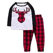 Arleysh Newborn Baby Boys Girls Long Sleeve Xmas Deer T-Shirt Top Plaid Cotton Pants Outfit Set (3-6 Months)