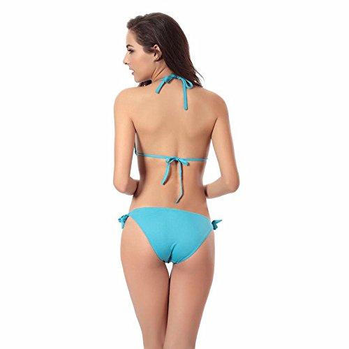 SHISHANG De las mujeres de bikini con un cojín en el pecho pechos nadan traje de baño traje de ropa caliente Europa y los Estados Unidos de alta elasticidad suave lake blue