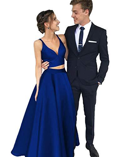 Dymaisei Women's V Neck Two Pieces Satin Prom Dress 2019 Long Formal Party Dresses US2 Blue