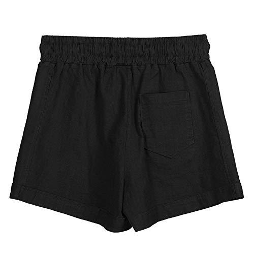 Shorts for Women Casual Dainzuy Summer Cotton Sport Short Pants Stretch Multi-Color Elastic Waist Trousers Black
