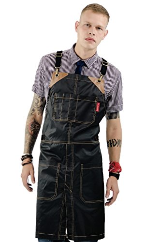 Under NY Sky Cross-Back Chimney Black Apron  Coated Twill with Leather Reinforcement and Split-Leg  Adjustable for Men and Women  Pro Barber, Tattoo, Hair Stylist, Barista, Bartender, Server Aprons