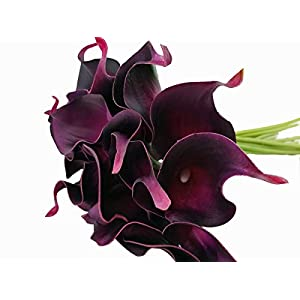 Winterworm Latex Faux Flower Real Touch Artificial Calla Lily Flower Bouquet Wedding Party Home Garden Restaurant Decoration - Bunch of 10 (Purple Red) 5