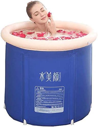 KJRJCQ インフレータブルポータブルバスタブ、ブルー耐久性のある均熱バスタブ、大人と赤ちゃんのための自立インフレータブルプール浴室ホームスパ(エアーポンプ付き) (Size : S)