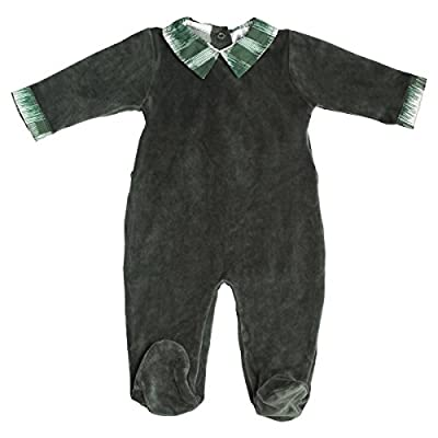 Jack & Jill Romper for Baby Boys, Green Velour with Plaid Trim Footed Onesie, Baby Footie