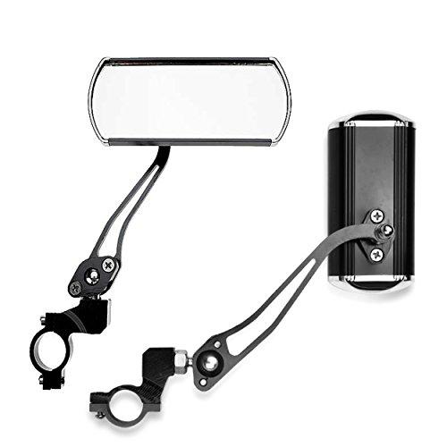 iztor Adjustable 360 Degree Rotating Mountain Road Bike 7/8 inch Handlebar Safty Rear View Mirror,Wide Angle Handlebar End Rear Back View Aluminum-Black