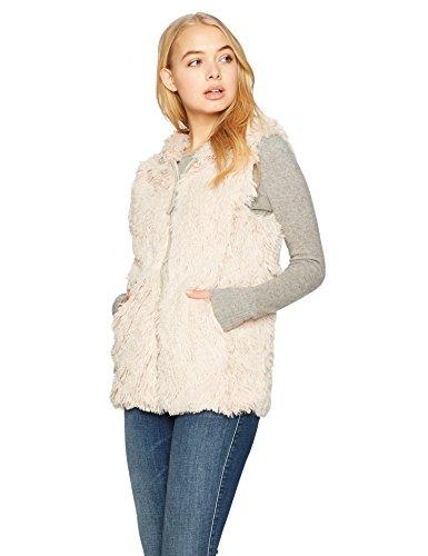 Angie Women's Faux Fur Zip Front Hooded Vest, Tan, Medium