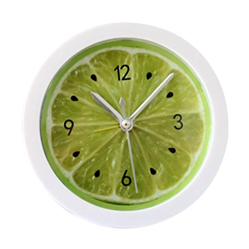 DIGOOD Creative Colorful Round Shape Mini Quartz Desktop Plastic Needle Alarm Clock (Acrylic Date Watch)