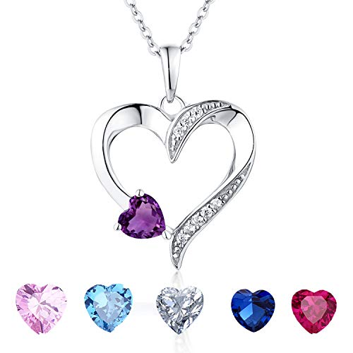 (YL Women's Amethyst Necklace Sterling Silver Heart Pendant Cubic Zirconia Purple Crystal Jewelry Valentine's Day Gift)