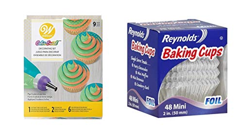 Reynolds Baking Cups Foil Mini 2-Inch 48 Ct Bundle with Wilton Color Swirl, 3-Color Piping Bag Coupler, 9-Piece Cake Decorating Kit (Reynolds Baking Cups Mini Foil 48 Count)