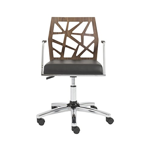 (Eurø Style Sophia Adjustable Office Chair, Walnut Back with Black Seat and Chromed Steel Base)