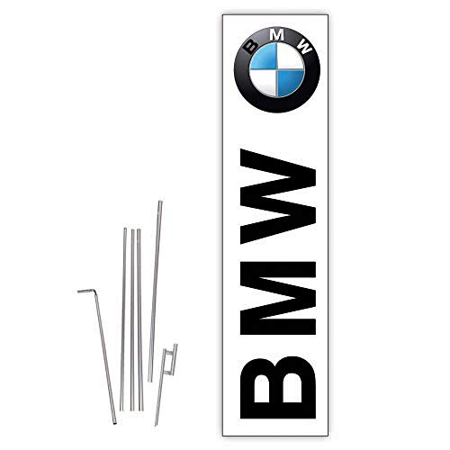 Cobb Promo Rectangle Boomer Flag (White) for BMW Auto Dealerships with Complete 15ft Pole kit and Ground Spike