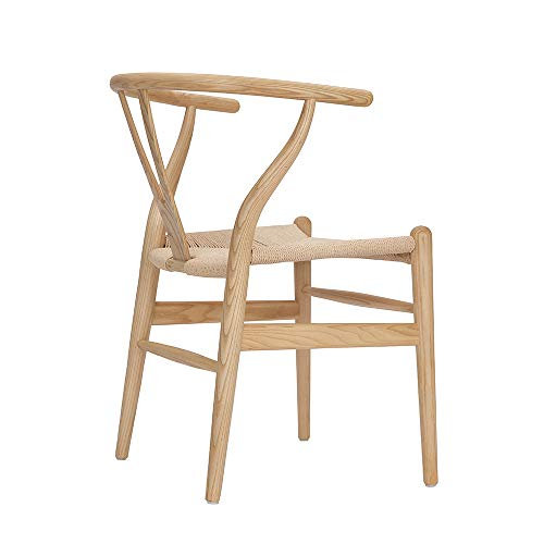 Tomile Wishbone Solid Dining Chairs Rattan Armchair Hans Wegner Ash-Natural Wood Color ,
