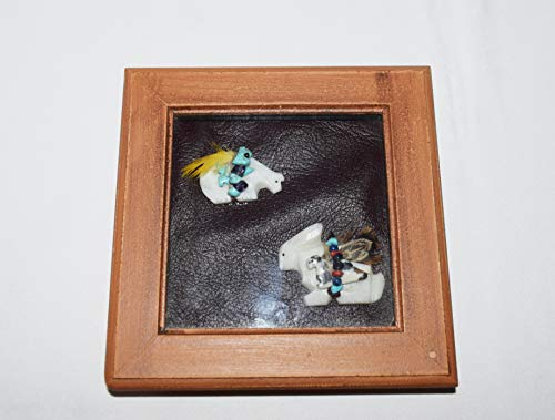 Navajo Medicine Bear and Rabbit Double Fetish Carving Shadow Box Wall - Figurine Medicine Horse