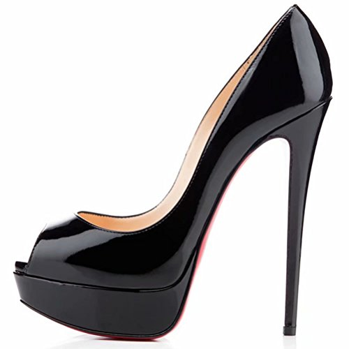 Fondo Stiletti Tacchi Piattaforma Tacco Pan Caitlin Black Toe R0ss0 col Peep Festa Slip Alti Donna On Pompe Dress Scarpe Sandali w0n4xUqC1x
