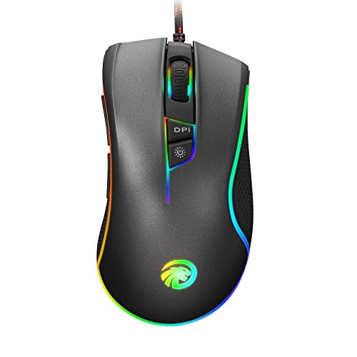 HIRALIY 4000 DPI 9 Programmable Buttons RGB Backlit Wired Optical Gaming Mouse (Grey) - Microsoft 4000 Wireless Keyboard