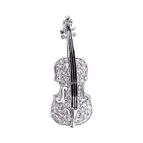 sourjas Flower Girl Jewelry Clear Crystal Luxury Cute Violin Musical Art Deco Bridal Brooch Pin -