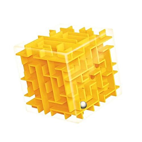 XKSIKjian Kids 3D Maze Cube Labyrinth Rolling Twist Toy Intellectual Challenge Puzzle Game - Yellow -