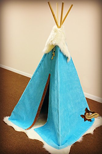 Fur Accents Indian Tee Pee / Kids Play Tent / Ultra Suede with Faux Fur Top Cape / Tassels and Bead Trim / 3'x6' (Indian Turquoise)