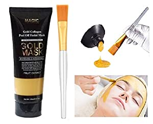 Gold Mask 24k Gold Collagen Peel Off Deep Cleansing Anti-Wrinkle Brightening Moisturizing Facial Nose Mask Pore-Clogging Dirt Remover Regulating Excess Oil Tightening Up Skin 120 ml