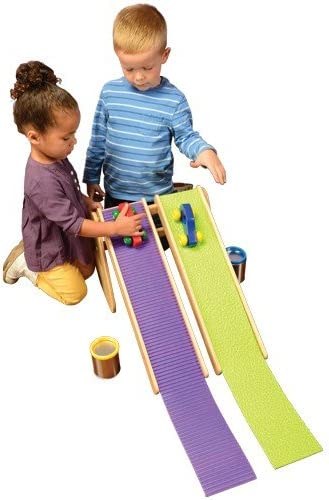 Constructive Playthings Race and Roll Ramps with Varied Coverings, for Ages 3 and up