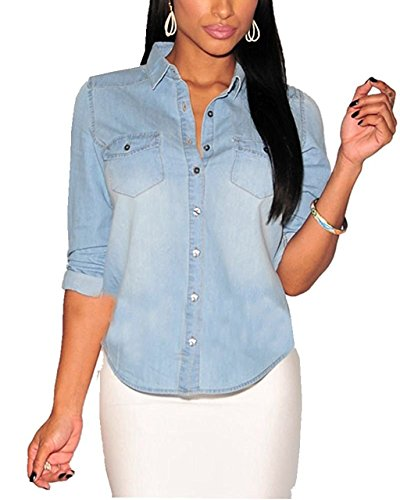 - MAXIMGR Women Fashion Sexy Button Down Long Sleeve Lapel Denim Blouse Tops Shirt Size XXL(US 8-10) (Light Blue)