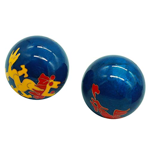 (1.5'' Cloisonne Health Hand Balls Carved Dragon and Phoenix Pattern Exercise Stress Balls Craft Collection BS148 (S, blue) )