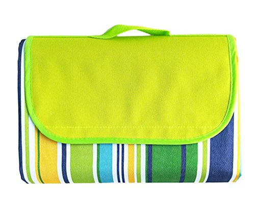 Stripe Market Tote - SHENGHE Picnic Blanket Outdoor Mat Beach Mat Tote Green Stripe Great for The Beach Camping on Grass Waterproof Sandproof