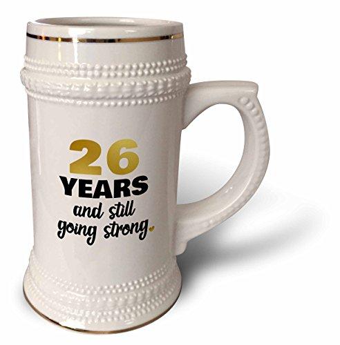 3dRose Janna Salak Designs Anniversary - 26 Year Anniversary Still Going Strong 26th Wedding Anniversary Gift - 22oz Stein Mug (stn_274369_1) ()