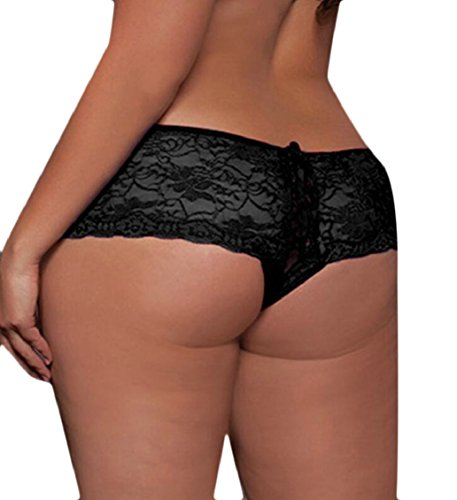 ouxiuli Women's Lingerie Sexy Lace Boy Shorts Crotchless Thong Panty 1 5XL