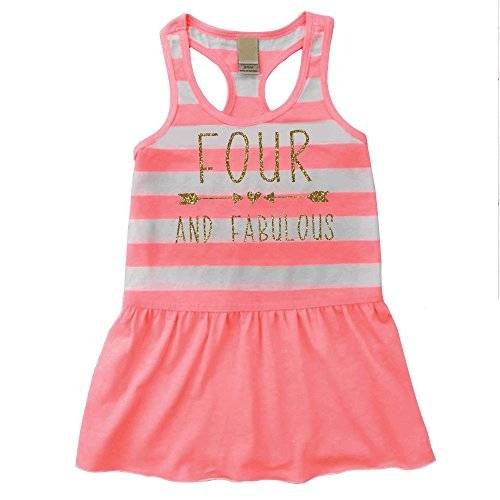 Fourth Birthday Outfit Girl Four and Fabulous 4th Birthday Summer Tank Dress (3T)