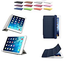 Ultra-Thin Smart Cover Case Magnetic Protective Flip Skin Case Stand, Auto Sleep and Wake Sensor for Skin for Apple iPad 1, iPad 2, iPad 3 'New iPad Retina Display' 3rd Generation 4th Generation, iPad Air, Compact Crystal Clear back case - Navy Blue