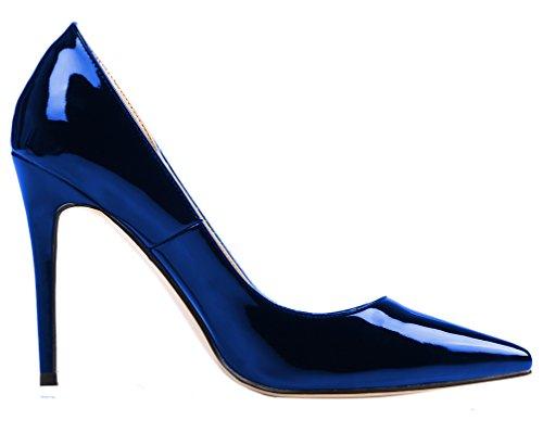 a AOOAR Glitzernd Chiusura Blau T Lackleder Donna 6wwaf8Fn