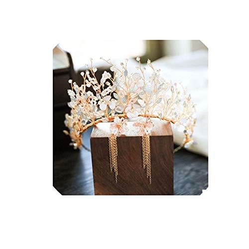 Headband Bride Mermaid Princess Gold Crown Diadem Wedding Hair Accessories Bridal Headpiece Head Jewelry Girl Tiara Sets,C Gold Crown Earring