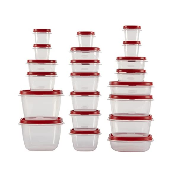 Rubbermaid Easy Find Lids Food Storage Containers, Racer Red, 42-Piece Set 1880801 2 Plastic food storage containers feature Easy Find Lids that snap on to container bases as well as same size lids, so you can always find lids when you need them, and your cabinets stay organized Great for fridge and cabinet storage, crafts, and more Nests easily with other containers for compact storage