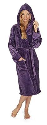 Forever Dreaming Women's Plush Flannel Fleece Hooded Bathrobe Sizes S-XL