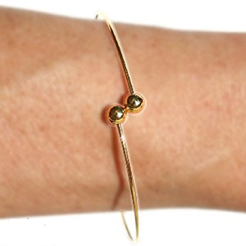 BANGLE BRACELET ADD A BEAD 9 INCH LARGE HOLE BEAD SCREW ON BALL ENDS (Gold Plated)