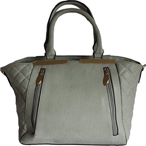 H&G Ladies Designer Tote Shoulder Handbag by DL Accessories, Paris Grey