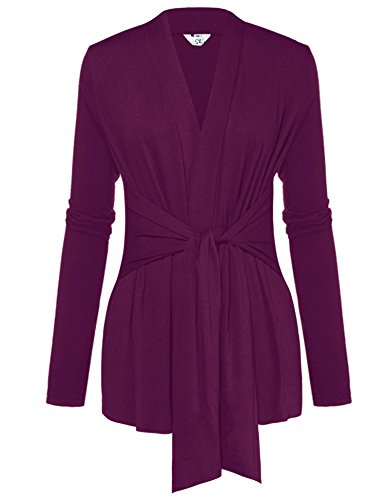 A Blues Man Womens Casual Long Sleeve Open Front Drape Wrap Travel Cardigan Sweater Purple (Belted Wrap Sweater)