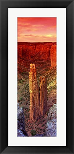 Rock Formations in a Desert, Spider Rock, Canyon de Chelly National Monument, Arizona by Panoramic Images Framed Art Print Wall Picture, Black Flat Frame, 18 x 37 inches Canyon De Chelly National Monument