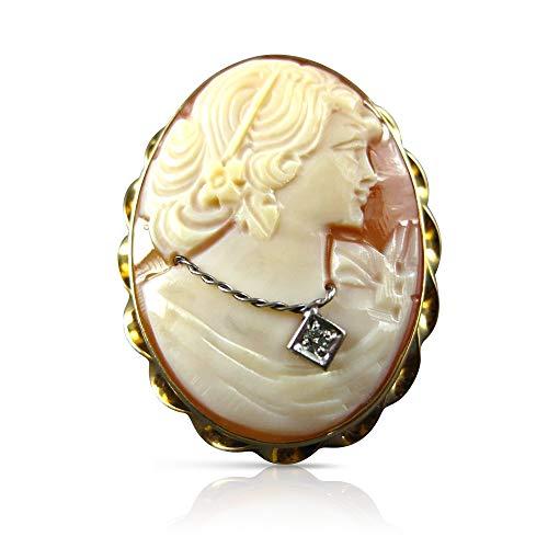 (Milano Jewelers .02CT Old Mine Diamond 14KT 2 Tone Gold Lady Cameo Pendant Brooch #21219)