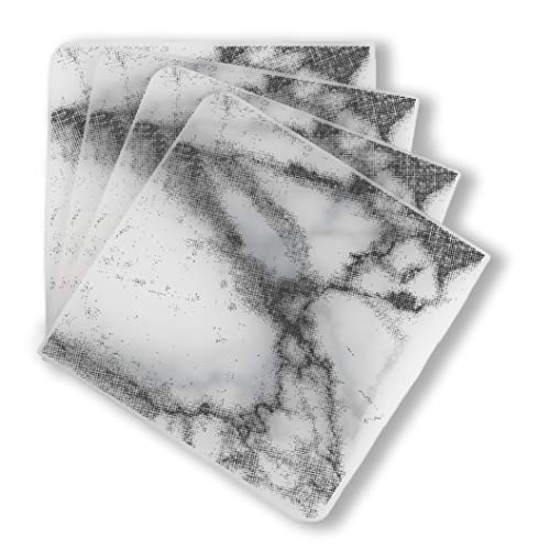 modern-twist Marble Print Set of 4 Coasters 100% plastic free silicone, tabletop, dining, decoration, modern design, Gray ()