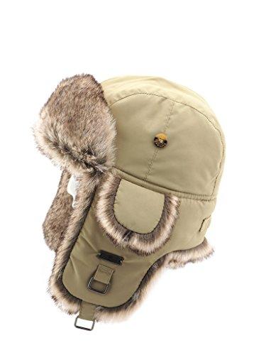 FUR WINTER Taslon Faux Fur Aviator Bomber Trapper Hat KHK L/XL