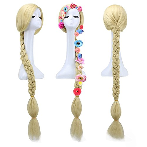 Anogol 6pcs Flowers + Long Blonde Braid Tangled Wig Cosplay Wigs DM-388 (wig+6flowers+hair cap)]()