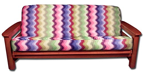 Lifestyle Covers Full Size Wavy Groovy Colorful Print FUTON Cover, 54x75, Multicolor